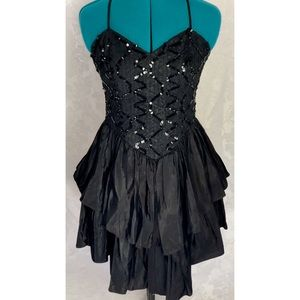 80's Sequin and Taffeta Prom Dress